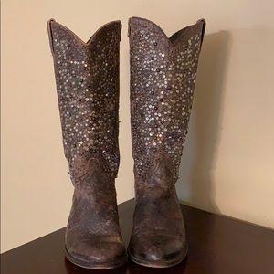 FRYE Deborah studded tall western boot. Size 9.